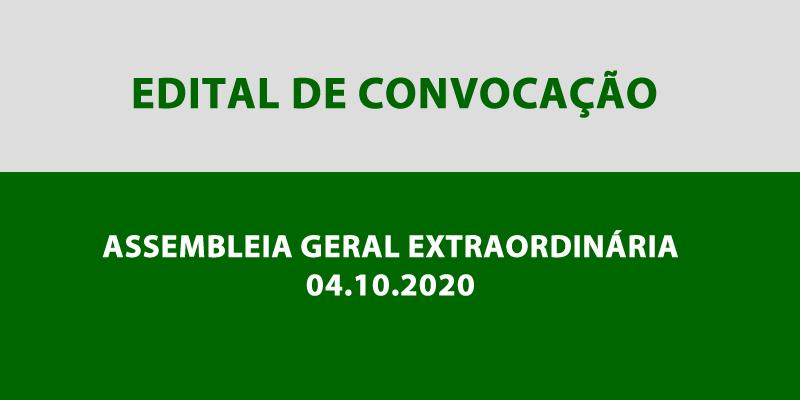 Edital de Convocação – Assembleia Geral Extraordinária 04.10.2020